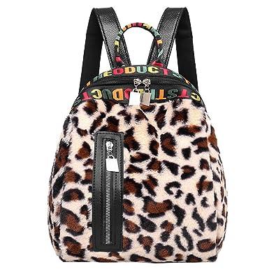826d7b5f0f YUAN Women Corduroy Leopard Print School Bag Backpack Satchel Travel  Shoulder Canvas Messenger Bag Brown