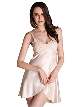 66344c1be6 Danyer Women s Sexy Lingerie Sleepwear Satin Slip Nightdress Nighty (US S size  M