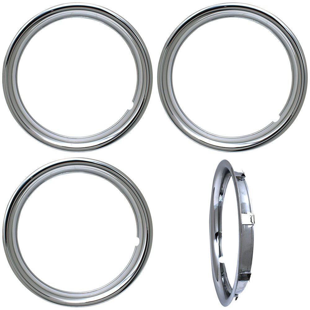 OxGord Trim Rings 16 inch Diameter (Pack of 4) Chrome ABS Plastic Beauty Rims WCTR-16-PLCH