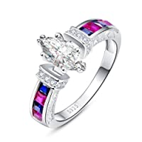 Merthus 925 Sterling Silver Created Mystic Rainbow Topaz Engagement Ring for Women