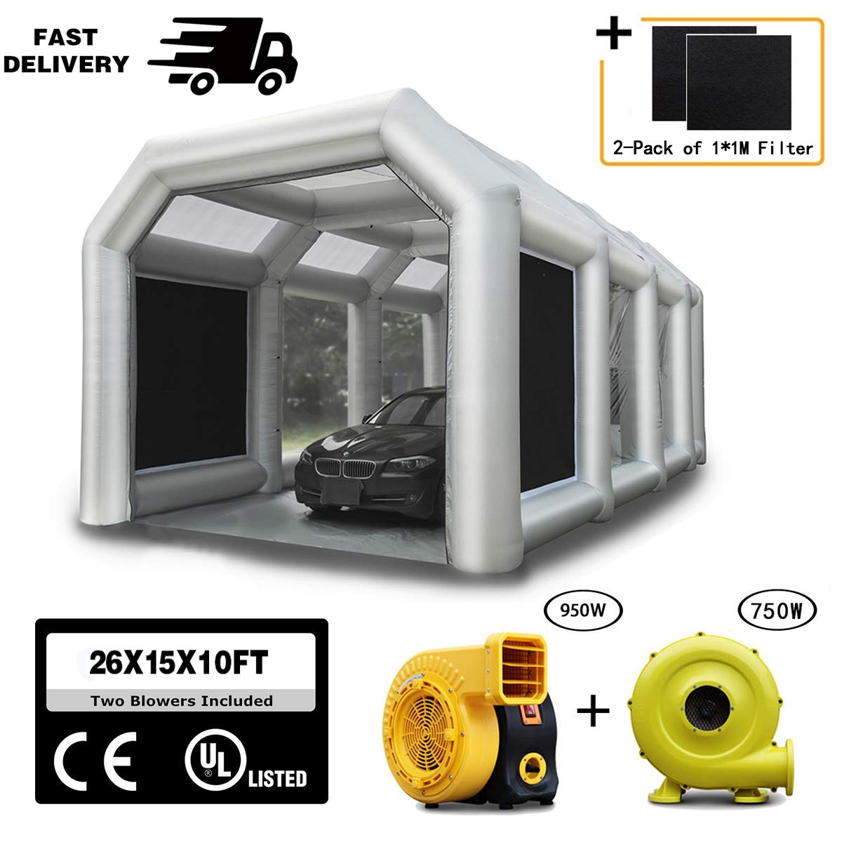 LuckyWe Inflatable Spray Booth Car Paint Room Large Spray Tent 26x15x10FT with 2 Blowers Painting Booth for Spray Paint Car Parking Tent Portable Garage with Filter System by LuckyWe
