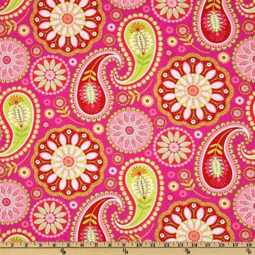 (Michael Miller DV-894 Bandana Gypsy Paisley Pink/Lime Fabric by The Yard)