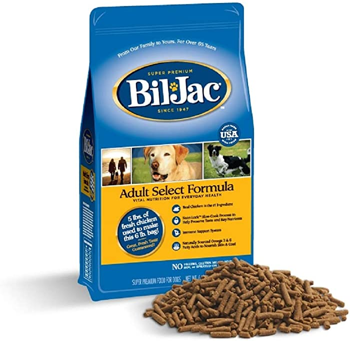 Bil-Jac Dry Dog Food Adult Select Formula Small or Large Breed 6 lb Bag - Super Premium Since 1947