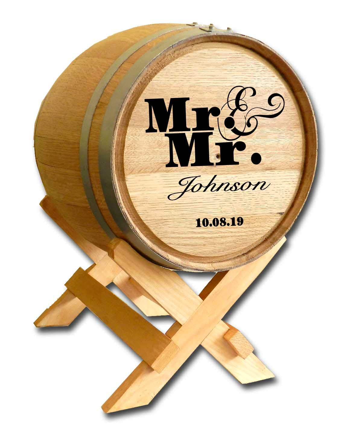 Personalized Mr. & Mr. Wedding Barrel Card Holder