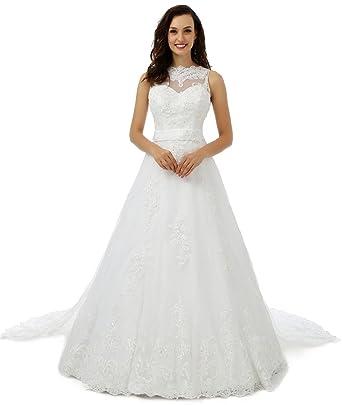 628334b5d72 Ebelz Appliques d hiver haut en dentelle blanche robe de mariée robe de bal  de