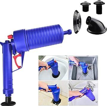 manueller Abfluss/öffner Badezimmer einfaches Entstopfen von Waschbecken und Toiletten mit einem Ausl/öser Pumpe f/ür Bad leistungsstark Disnation Hochdruck-Druckluftpistole Shows Toiletten