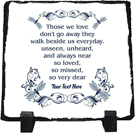 Personalized Memorial Photo Keepsake Remembrance Stone Plaque Slate Any Text Any Colors