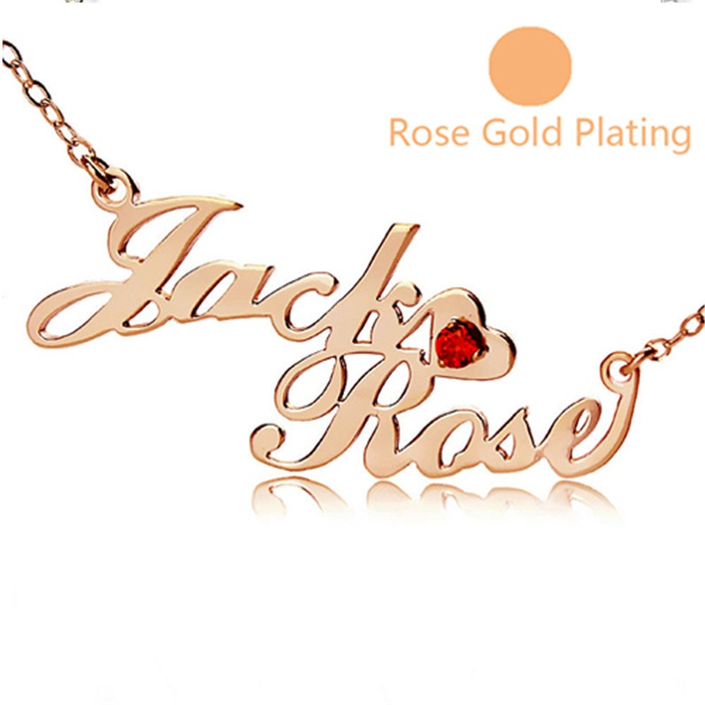 KIKISHOPQ Personalized with Two Name Stitching and a Birthstone Custom Necklace