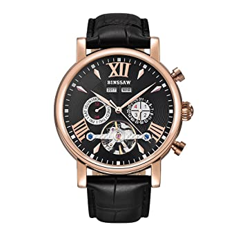 f285ffef9 Image Unavailable. Image not available for. Color: BINSSAW Men Tourbillon  Automatic Mechanical Watch Luxury Brand Leather Fashion Casual Stainless  Steel ...
