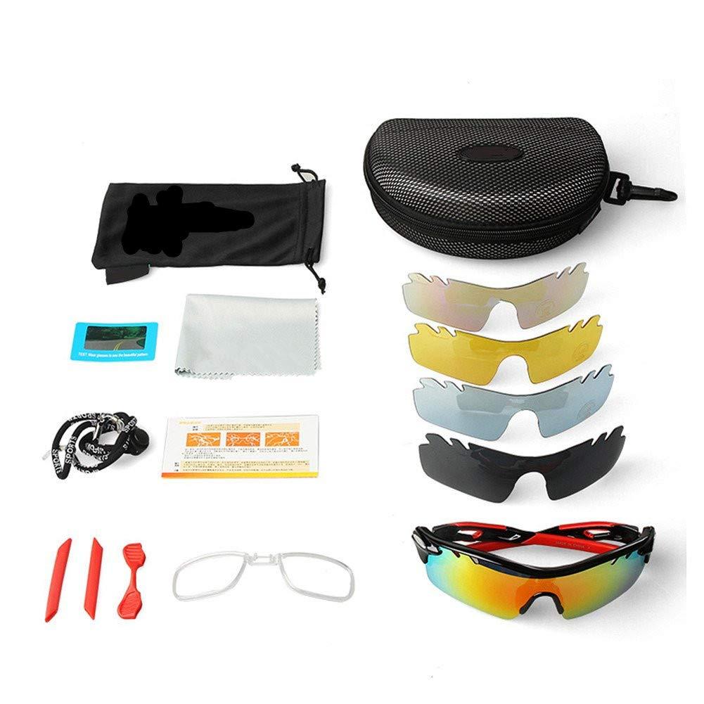 JOGVELO Polarized Sports Sunglasses,Cycling Glasses Men Anti-Fogging UV400 with 5 Interchangeable Lenes for Running Driving Baseball
