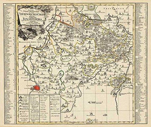 Historische Karte: Amt Eckartsberga - mit den Gebiet von Heldrungen, Kölleda, Laucha, Jena, Erfurt, Gebesee - 1757 (Plano)
