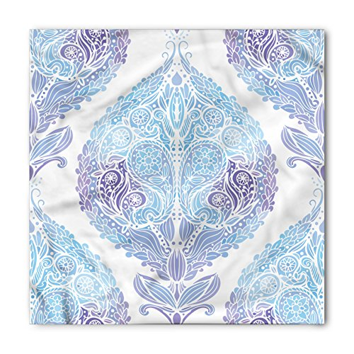 Lunarable Unisex Bandana, Eastern Traditional Paisley Motifs, Blue Purple