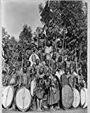 Vintography Group of Kavirondo Natives Posed in Standing Pyramid with Spears and Shields. ca. 191-, in Africa
