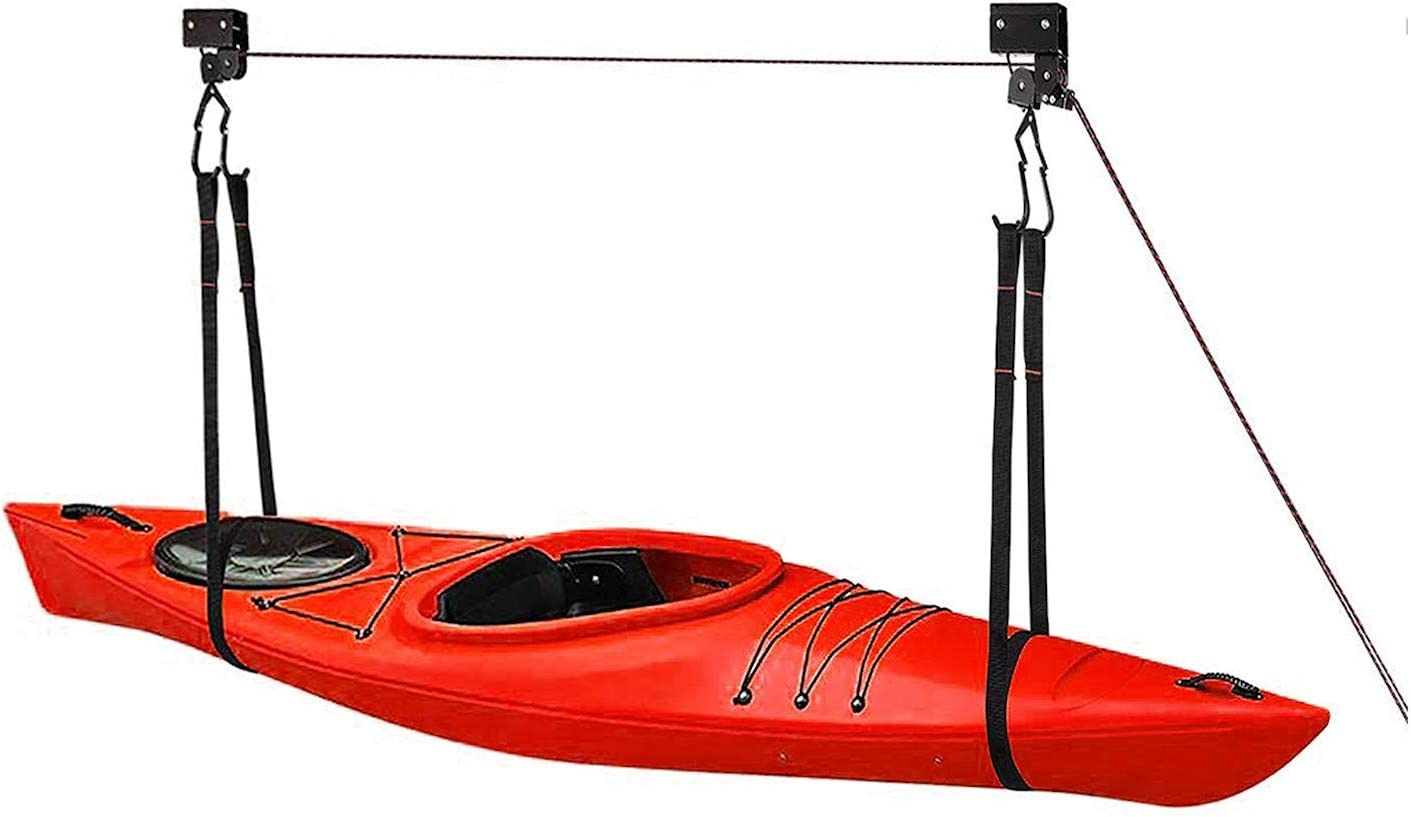 Great Working Tools Kayak Hoist Lift, Hanging 2 Pulley System - Garage Ceiling Mount 125 Pound Capacity Heavy Duty - Bicycle, Paddleboard, Canoe and Ladder Storage Tool