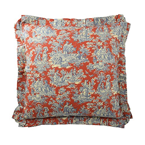 Waverly 14923026X026HTB Sanctuary Rose 26-Inch by 26-Inch Euro Sham, Heritage Blue ()