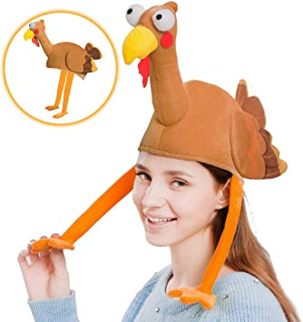 Plush Turkey Gobbler Hat with Long Neck for Happy Thanksgiving Party Costume Outfit and Dress