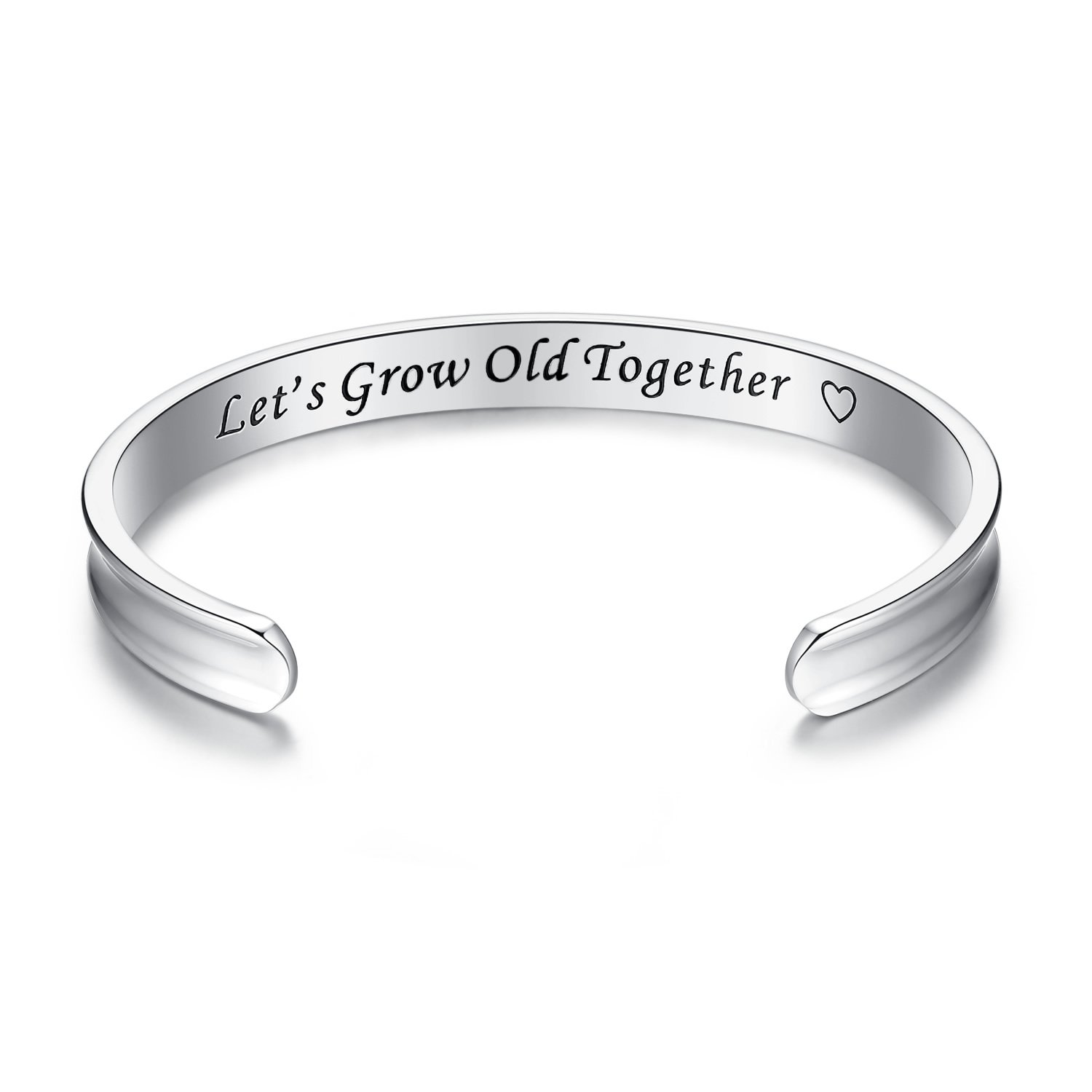 'I love you always and forever' Grooved Cuff Bangle Bracelets, Jewelry for Women, Girls, Wife, Her, Mom Mother Daughter Girlfriend Birthday