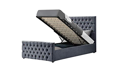 Excellent Limitless Home Smartie Gas Lift Ottoman Storage Bed Upholstered Rainbow Studded Bed Frame Linen Fabric Available In Grey Black And Blue Color Gamerscity Chair Design For Home Gamerscityorg