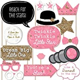 Pink Twinkle Twinkle Little Star - Baby Shower or Birthday Party Photo Booth Props Kit - 20 Count