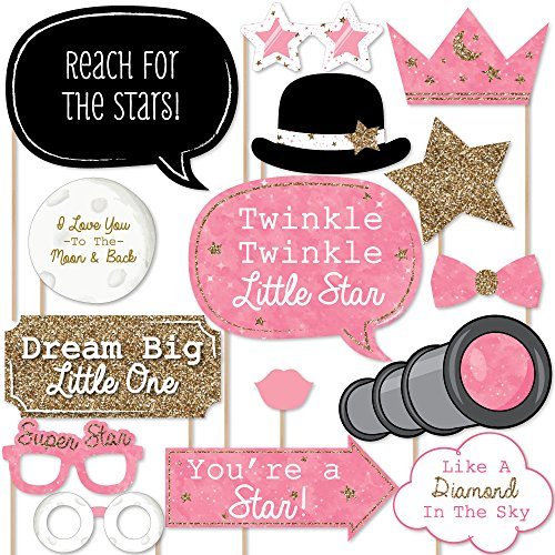 Big Dot of Happiness Pink Twinkle Twinkle Little Star - Baby Shower or Birthday Party Photo Booth Props Kit - 20 Count