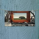 Nalahome Microfiber Towel Surreal Landscape Forest Tree in Frame Stones Art Photo Charcoal Grey Dark Orange High Absorbency L27.5 x W11.8 inch