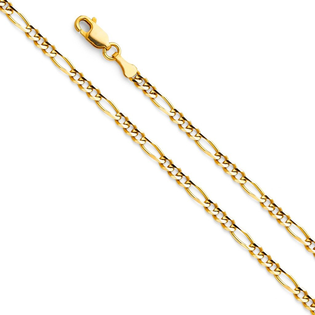 Wellingsale 14k Yellow Gold SOLID 3mm Polished Figaro 3+1 Concave Chain Bracelet - 7''