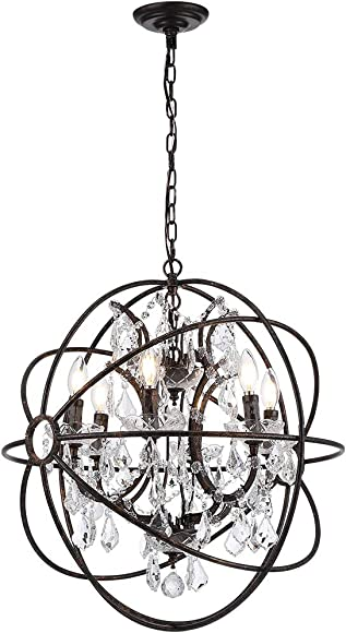6 Light Candelabra Crystal 24″ Chandelier Pendant Rustic Lamp Antique Atom Orbed Iron Frame Globe Ball