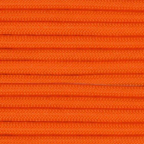 100' Neon Orange 550 Paracord / Parachute Cord, Type III, 7 Strand, 5/32 (4mm) Diameter, 550LB Breaking Strength, 550Cord Survival Cordage W/ Spool & Buckle Options ()