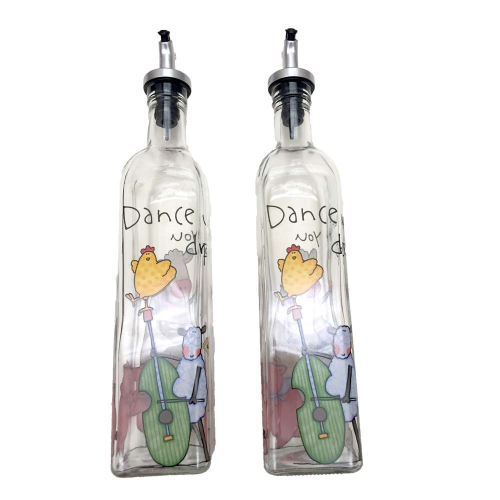 Oil Dispenser Bottle Cruet Set for Kitchen - Music Theme Dancing Chicken Farm Animals for Oil, Vinegar Salad Dressing