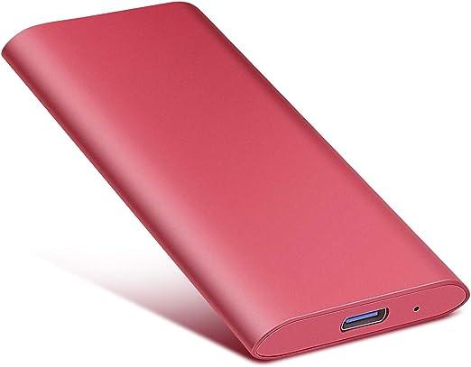 Jetzz ポータブル外付けハードドライブ タイプC ミニ外付けUSB3.1 ハードドライブ Mac PC ノートパソコン用 1TB レッド