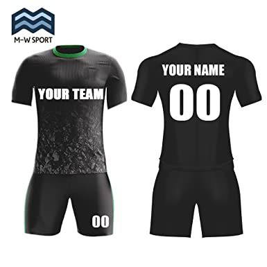 ee93d9eae M-W Sports Custom Football Jerseys Black Set For Men With Team Name and  Number