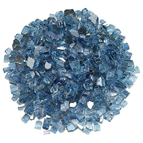Blazing Fireglass 10-Pound Reflective Fire Glass with Fireplace Glass and Fire Pit Glass, 1/2-Inch, Pacific Blue (Fire Pacific Blue Glass)