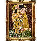 La Pastiche El Beso Metálico Adornado Obras de Gustav Klimt Con Marco de Oro Victoriano