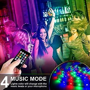 LED Strip Lights, HRDJ Light Strip RGB 32.8FT/10M 20Key, Music Sync Color Changing, Rope Light 600 SMD 3528 LED, IR Remote Controller Flexible Strip for Home Party Bedroom DIY Party Indoor (2×16.4ft)