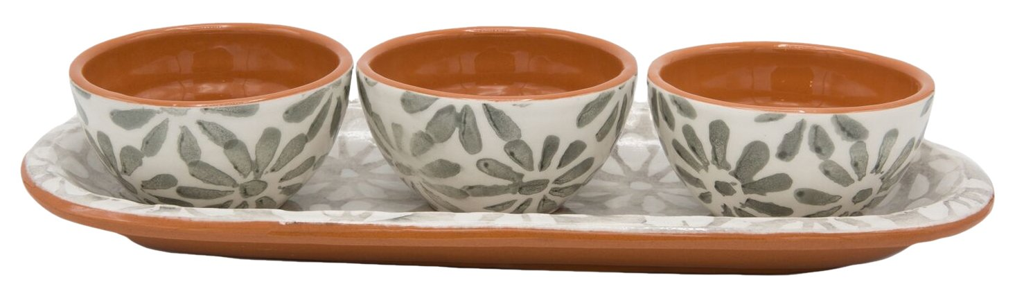 Euro Ceramica Margarida Collection 12'' Terra Cotta Snack Tray with 3 3.6'' Dipping/Sauce Bowls, Floral Hand-Painted Design, Gray & White