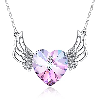 af1838213 Amethyst Crystal Heart Necklace, Purple Heart Wing Crystal Necklace,  Guardian Angel Wings Necklace,