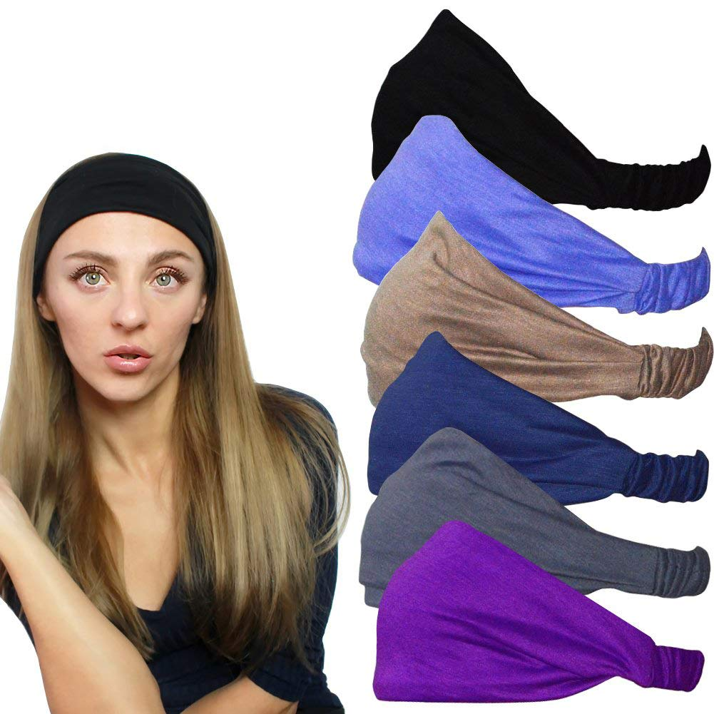 QING Headbands for Women Sweat Wicking Scarf Bandana Elastic Workout Headband Wrap Pack of 6 by QING