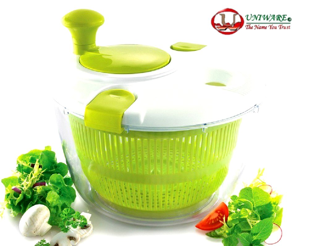 Uniware® Professional Large Salad Spinner, Vegetable Spinner, Fruit Spinner, Pasta Spinner, Bright Green (Green)