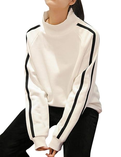 Primavera y Otoño Mujeres Sudaderas Joven Moda Cuello Alto Pullover de Manga Larga Sweatshirt Casual Jumpers Tops Jerséis Sweater T-Shirt: Amazon.es: Ropa y ...