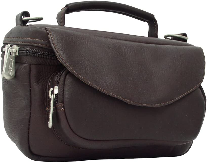 One Size Piel Leather Deluxe Carry-All Camera Bag Chocolate