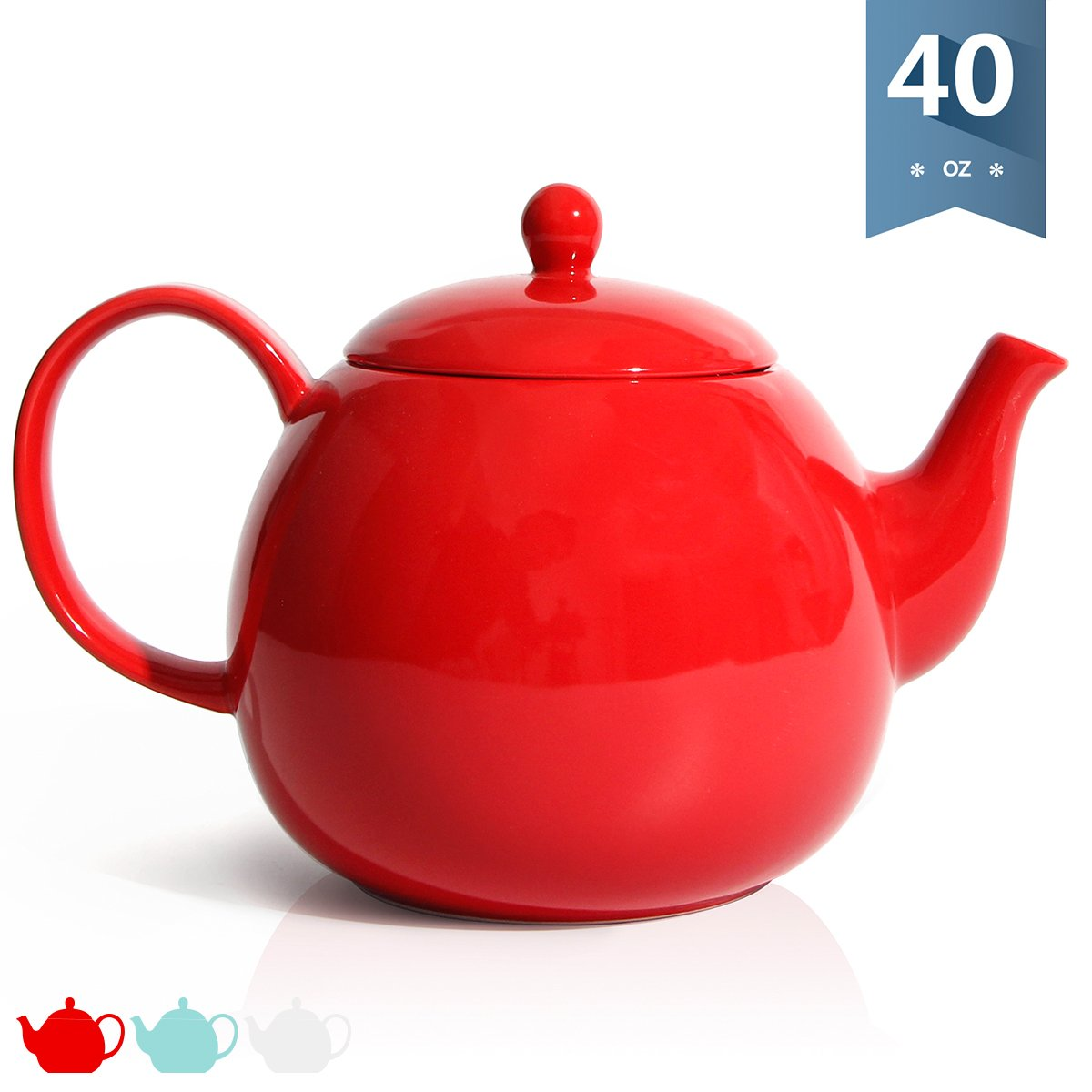 40 Ounce Tea Pot Sweese 2312 Porcelain Teapot Red Large Enough for 5 Cups