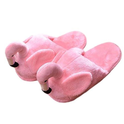 LANFIRE Flamingo Zapatillas otoño e Invierno Interior Zapatillas de Felpa señoras Zapatillas Animales Zapatillas (Pink