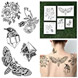 Tattify Hand Drawn Nature Temporary Tattoos - Pearlescent (Set of 10 Tattoos - 2 of each Style) - Individual Styles Available - Fashionable Temporary Tattoos