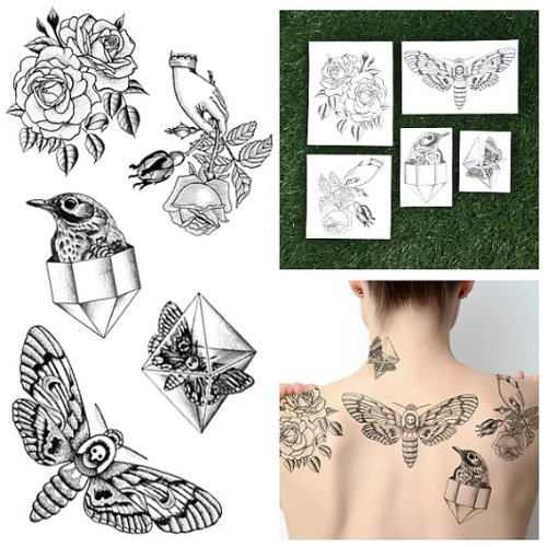 Tattify Hand Drawn Nature Temporary Tattoos - Pearlescent (Set of 10 Tattoos - 2 of each Style) - Individual Styles Available - Fashionable Temporary Tattoos -