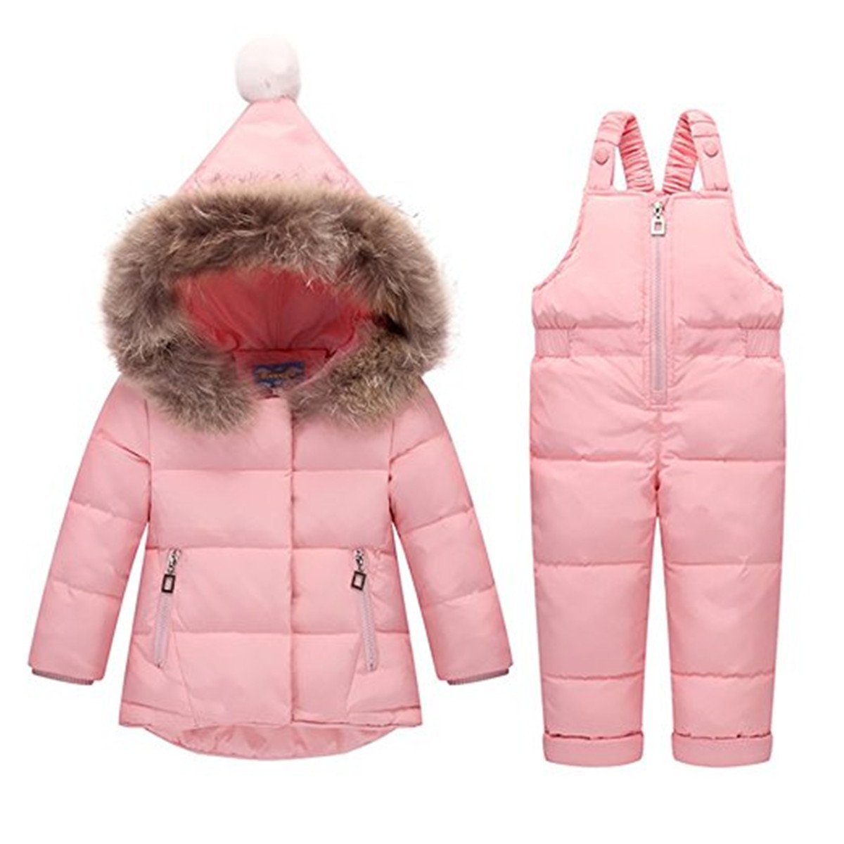 FAIRYRAIN Little Unisex Baby Two Piece Puffer Down Winter Warm Snowsuit Jacket With Snow Ski Bib Pants