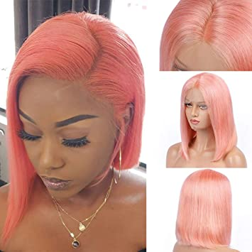 b1717954cca Short Pink Bob Wigs Brazilian Remy Hair Straight 13x4 Lace Front Human Hair  Bob Style Wigs for Women...