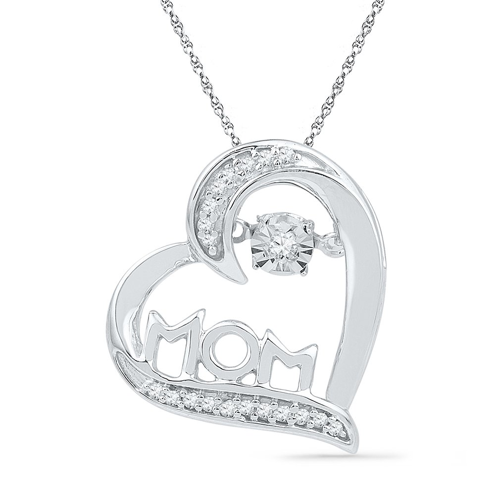 10kt White Gold Womens Round Diamond Mom Mother Heart Love Pendant 1/10 Cttw (I2-I3 clarity; J-K color)