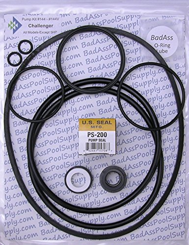 BadAss Pool Supply Compatible with Pentair Challenger High PSI, High Flow and Waterfall, Square Housing Gasket, Complete Pump O-Ring Rebuild Kit ()
