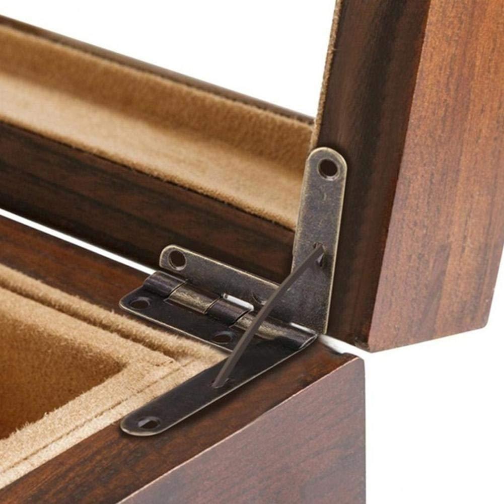 in ottone anticato cerniera a molla 10 cerniere di supporto ad angolo di 90 gradi scatola regalo in legno beige