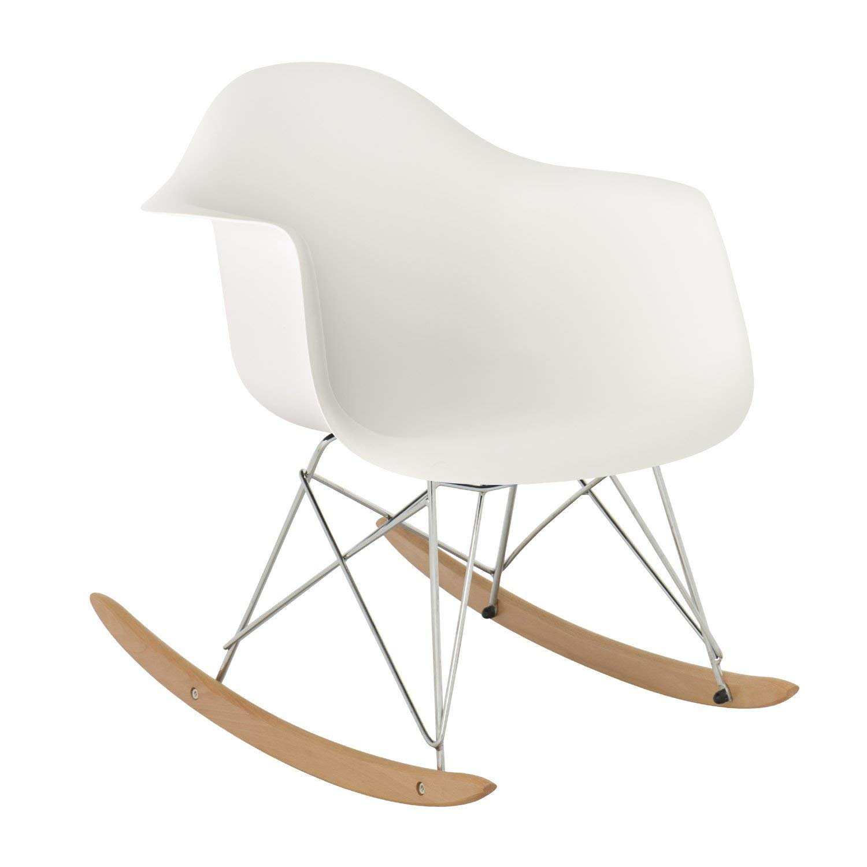 Rocking-chair Sklum : fauteuil baquet blanc avec pieds en bois